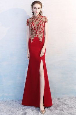 Wine Red Mandarin Collar Lace Embroidery Gown