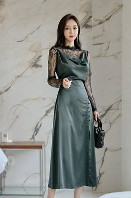 2-Pc Green Scoop Neckline Front Slit Dress