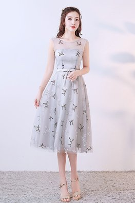 Silver Grey Jewel Illusion Neckline Embroidery Tea-Length Gown