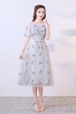 Silver Grey Jewel Illusion Neckline Open Sleeves Embroidery Tea-Length Gown