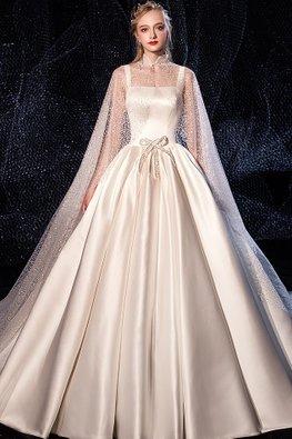 2-pc Square Neckline Stardust Cape Satin Wedding Gown