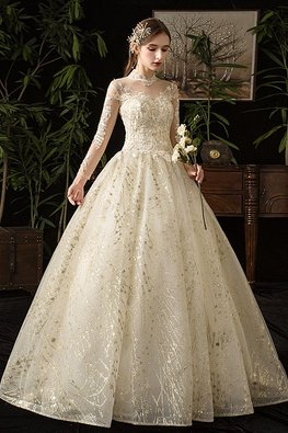 Champagne High Neck Long Sleeves Gold Glittering Wedding Gown