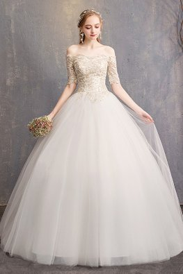 Off-White Off-Shoulder Champagne Lace Wedding Gown