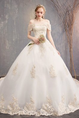 Off-White Off-Shoulder Champagne Lace Wedding Gown with Train