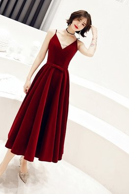 Red V-Neck Lace-Up Tea Length Gown (Express)