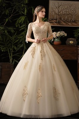 Champagne V-Neck Tassel Sleeves Wedding Gown