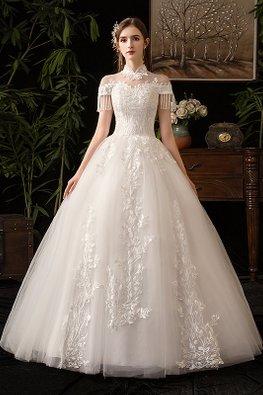 Mandarin Collar Illusion Neckline Tassel Sleeves Wedding Gown