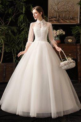 Mandarin Collar Illusion Sweetheart Neckline Open Back Wedding Gown