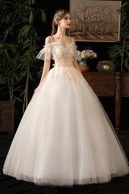 Sweetheart Ruffles Strap Twinkle Wedding Gown