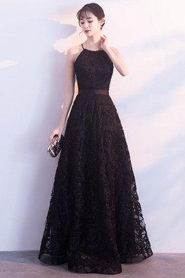 Black Halter Strap Neckline Ribbon Lace Gown