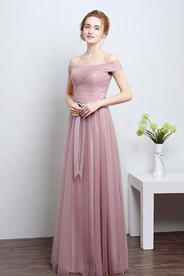 Dusty Pink Off-Shoulder Floor Length Gown