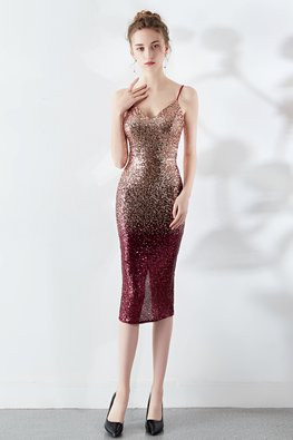 Gold Red / Silver Blue Full Sequins Spaghetti Strap Gown