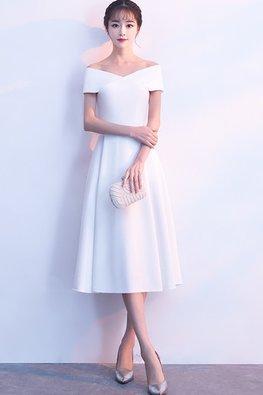 Black / White Wrap Shoulders A-Line Dress