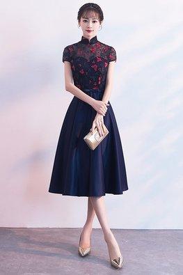 Navy Blue Mandarin Collar Red Butterflies A-Line Gown (Express)