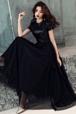 Black / Blue Contrast Texture Layered Skirt Gown