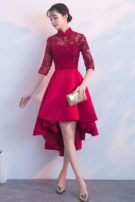 Assorted Colours Mandarin Collar Illusion Neckline Elbow Sleeves Hi-Lo Gown