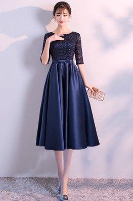Blue Jewel Neckline Elbow Sleeves High Waist Floor / Knee Length Gown