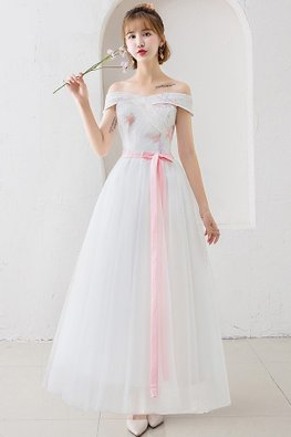 White Off-Shoulder Pink Star Gown