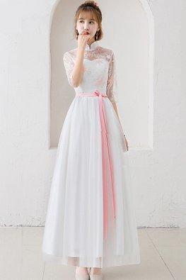 White Mandarin Collar Pink Star Gown
