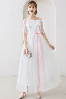 White Off-Shoulder Elbow Sleeves Pink Star Gown