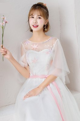White Illusion Neckline Butterfly Sleeves Pink Star Gown
