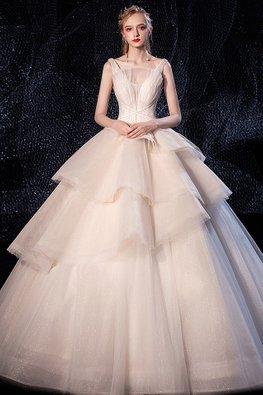 Illusion Plunging Neckline Layered Skirt Stardust Wedding Gown