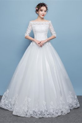 White Off-Shoulder Elbow Sleeves Lace Wedding Gown