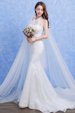 White Sweetheart Illusion Halter Neckline Mermaid Wedding Gown