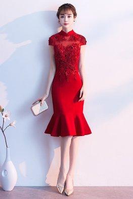 Wine Red / Red Mandarin Collar Cap Sleeves Mermaid Gown