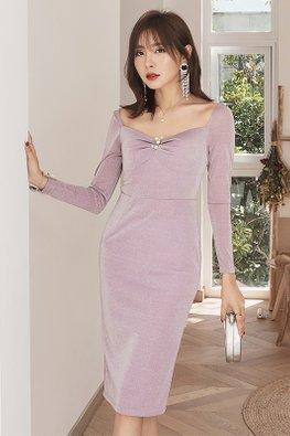 Purple Sweetheart Square Neckline Floral Ornament Dress