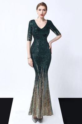 Black / Green V-Neck Elbow Sleeves Mermaid Sequin Dress