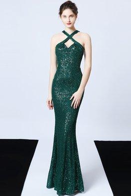 Green / Red Sweetheart Criss-Cross Back Slit Sequin Dress