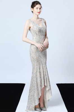 Blue / Silver V-Neck Sequin Patterned Hi-Lo Mermaid Gown