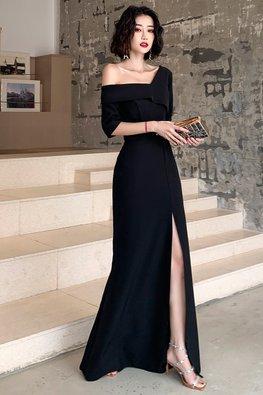 Black Single Off-Shoulder Front Slit Gown