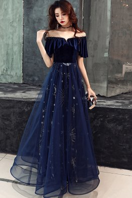 Navy Blue Illusion V-Neckline Stars Tulle Gown