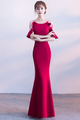 Assorted Colours Round Neck Ruffle Illusion Sleeves Mermaid Gown