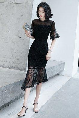 Black / Wine Red Scallop Hem Wide Sleeves Illusion Mermaid Gown