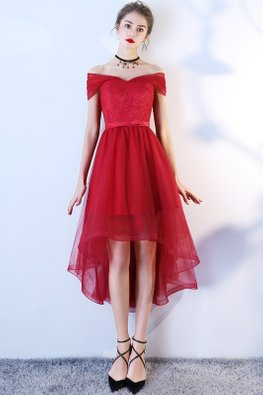 Black / Wine Red Off-Shoulder Wrap Sleeves Ribbon Back Hi-Lo Tulle Gown