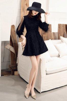White / Black High Neck Open-Arm Illusion Sleeves Feather Dress