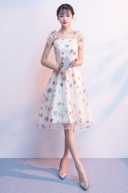 Silver Grey / Champagne Ribbon-Tie Fairy Gown
