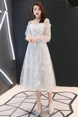 Light Grey Ribbon Tie Illusion Sleeves Stars Midi Sheer Gown