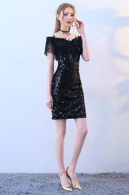Black Off-Shoulder Tassels-Lined Sequin Dress