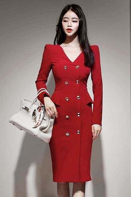 Almond / Red V-Neck Side Peplum Dress