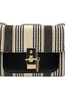 Khaki / Black Stripes Chain Bag