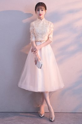 Champagne Mandarin Collar Feather Tulle Cheongsam Gown (Express)