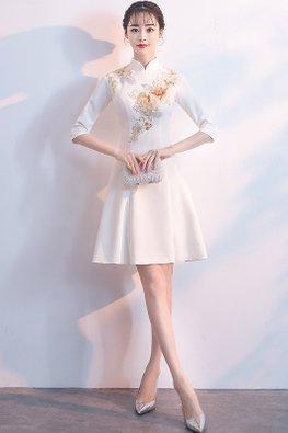 White Mandarin Collar Elbow Sleeves Floral Embroidery Cheongsam