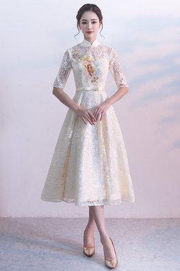 Champagne Sweetheart Mandarin Collar Illusion Neckline Lace Midi Dress