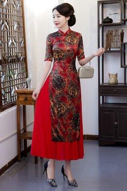 Red Elbow Sleeves Dragon Oriental Ao Dai Cheongsam