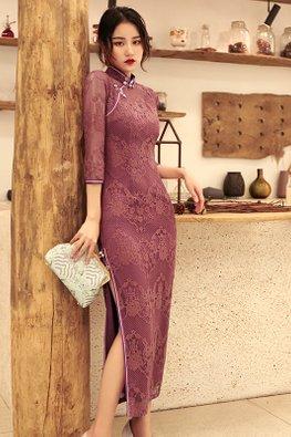 Pink Purple Mandarin Collar 3/4 Sleeves Lace Cheongsam