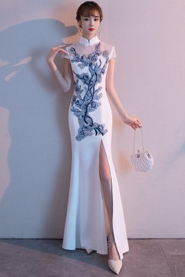 White Lace Illusion Cap Sleeves Embroidery Cheongsam